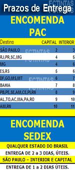 São Paulo: 02 à 03 dias, Sul e Sudeste: 04 à 06 dias, Centro-Oeste: 06 à 07 dias, Bahia: 07 à 08 dias, Norte e Nordeste: 08 à 11 dias, à partir da postagem pela FCTINTAS!